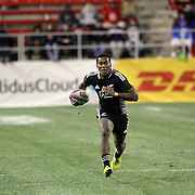 New Zealand Sevens' Tomasi Cama breaks free for a long try vs. Wales at the USA Sevens Rugby at Sam Boyd Stadium, Las Vegas, Nevada, USA.  Photo by Barry Markowitz, 2/8/13