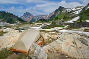 Backcountry campsite. Yellow Aster Butte Basin, Mount Baker Wilderness, North Cascades Washington
