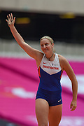 Holly Bradshaw of Great Britain waves to the crowd during the Women's Pole Vault at the Muller Anniversary Games at the London Stadium, London, England on 9 July 2017. Photo by Martin Cole.