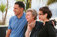 Roschdy Zem, Pascale Ferran and Camélia Jordana at the photo call for the film Bird People at the 67th Cannes Film Festival, Monday 19th May 2014, Cannes, France.