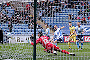 Coventry City midfielder Joe Cole (14)  is offside as he puts the ball into the net during the Sky Bet League 1 match between Coventry City and Millwall at the Ricoh Arena, Coventry, England on 16 April 2016. Photo by Simon Davies.