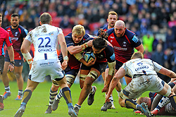 Chris Vui of Bristol Bears is challenged by Ted Hill of Worcester Warriors -Mandatory by-line: Nizaam Jones/JMP - 23/02/2020 - RUGBY - Ashton Gate - Bristol, England - Bristol Bears v Worcester Warriors - Gallagher Premiership Rugby