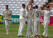 Graham Onions (Durham County Cricket Club) celebrates taking the wicket of Sam Hain(Warwickshire County Cricket Club) with team mates during the LV County Championship Div 1 match between Durham County Cricket Club and Warwickshire County Cricket Club at the Emirates Durham ICG Ground, Chester-le-Street, United Kingdom on 15 July 2015. Photo by George Ledger.