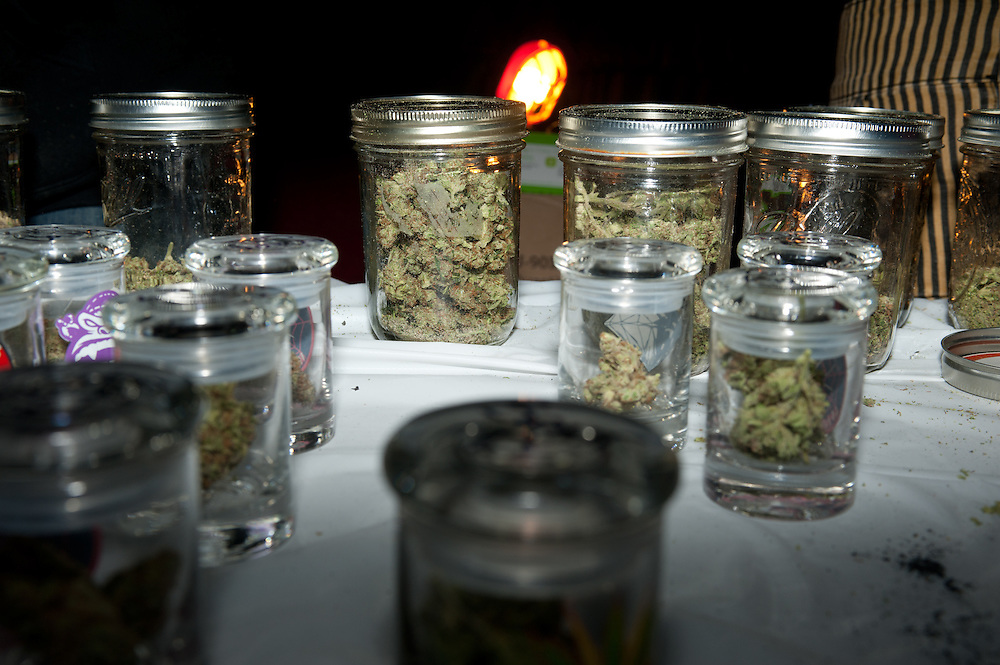 Jars of marijuana at a patients' meetup party in Denver.