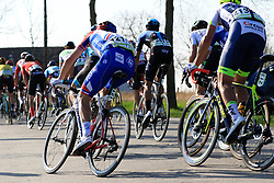 The peloton including Arnaud Demare (FRA) Groupama-FDJ on Driesstraat during the 2019 E3 Harelbeke Binck Bank Classic 2019 running 203.9km from Harelbeke to Harelbeke, Belgium. 29th March 2019.<br /> Picture: Eoin Clarke | Cyclefile<br /> <br /> All photos usage must carry mandatory copyright credit (© Cyclefile | Eoin Clarke)