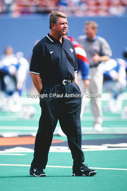 New Orleans Saints head coach Mike Ditka looks on during pregame warmups before the NFL football game against the New York Giants on Sept. 28, 1997 in East Rutherford, N.J. The Giants won the game 14-9. (©Paul Anthony Spinelli)