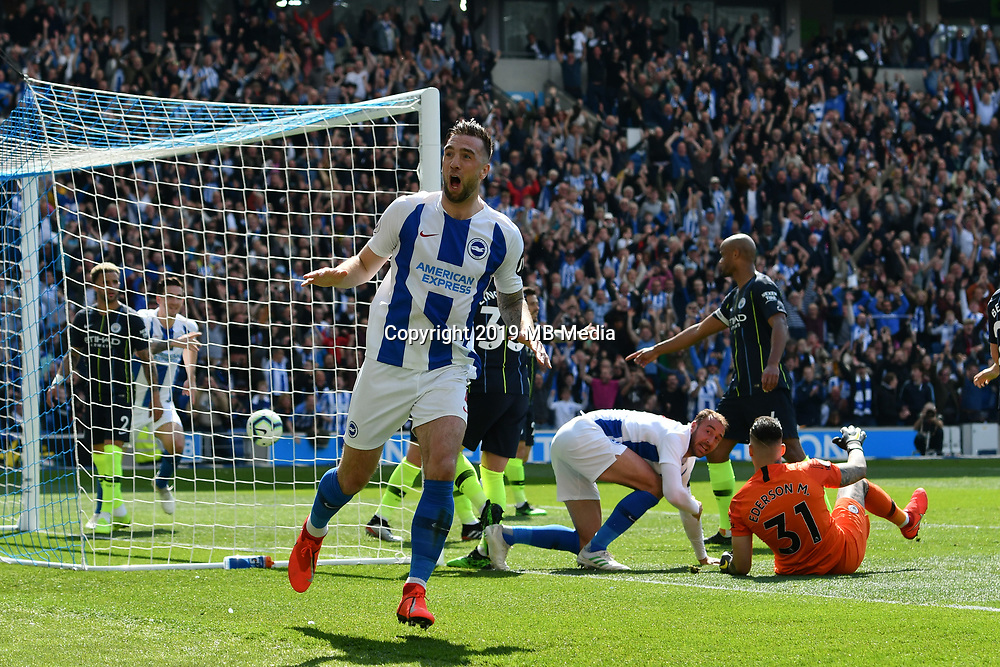 BRIGHTON, ENGLAND - MAY 12:    Shane Duffy (4) of Brighton and Hove Albion celebrates after Glenn Murray (17) of Brighton and Hove Albion scores a goal to give a 1-0 lead to the home team  during the Premier League match between Brighton & Hove Albion and Manchester City at American Express Community Stadium on May 12, 2019 in Brighton, United Kingdom. (MB Media)