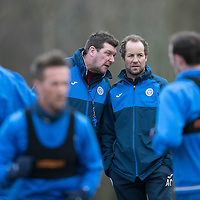 St Johnstone Training…30.12.16<br />Tommy Wright and Alec Cleland pictured during training this morning ahead of tomorrow's game against Dundee<br />Picture by Graeme Hart.<br />Copyright Perthshire Picture Agency<br />Tel: 01738 623350  Mobile: 07990 594431