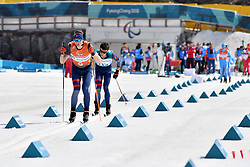 DUBOIS Thomas FRA B1 Guide: SAUVAGE Bastieni competing in the ParaSkiDeFond, Para Nordic Skiing, Sprint at  the PyeongChang2018 Winter Paralympic Games, South Korea.