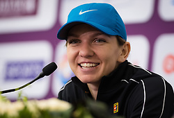 February 14, 2019 - Doha, QATAR - Simona Halep talks to the media after winning her quarter-final match at the 2019 Qatar Total Open WTA Premier tennis tournament (Credit Image: © AFP7 via ZUMA Wire)