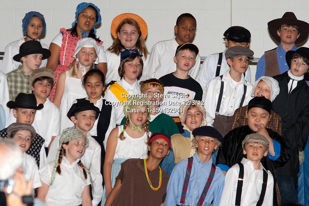School student choir age 10 presentation of Minnesota history in costume. Horace Mann School. St Paul Minnesota MN USA