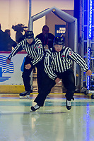 REGINA, SK - MAY 23: Linesmen enter the ice at the start of the game at the Brandt Centre on May 23, 2018 in Regina, Canada. (Photo by Marissa Baecker/CHL Images)
