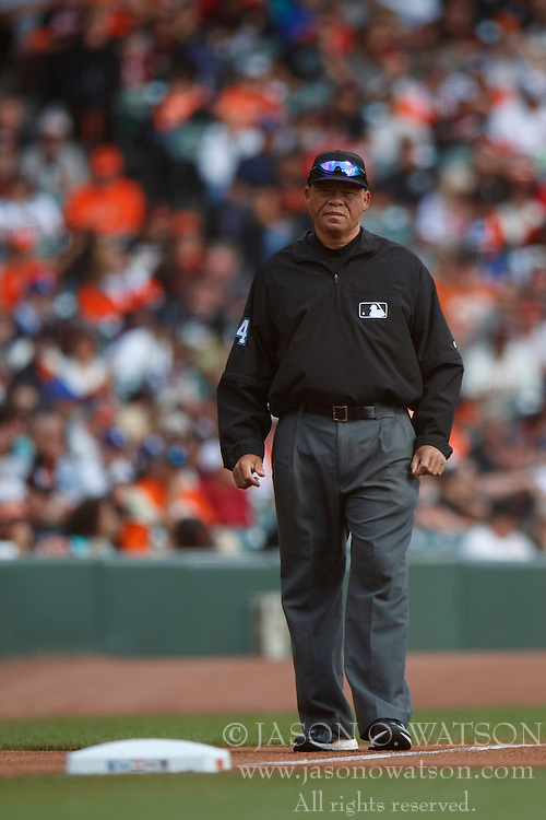 SAN FRANCISCO, CA - OCTOBER 02: MLB umpire Kerwin Danley #44 stands on the field during the first inning between the San Francisco Giants and the Los Angeles Dodgers at AT&T Park on October 2, 2016 in San Francisco, California. The San Francisco Giants defeated the Los Angeles Dodgers 7-1. (Photo by Jason O. Watson/Getty Images) *** Local Caption *** Kerwin Danley