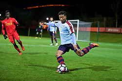 KIRKBY, ENGLAND - Wednesday, November 23, 2016: Burnley's Ali Koike in action against Liverpool during the Lancashire Senior Cup 2nd Round match at the Academy. (Pic by David Rawcliffe/Propaganda)