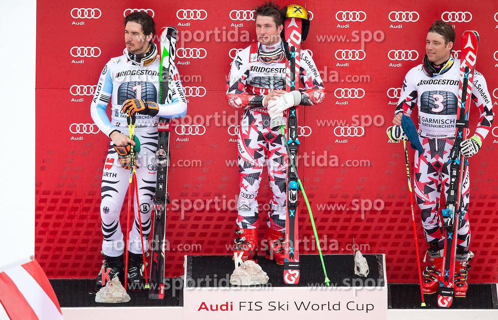 01.03.2015, Kandahar, Garmisch Partenkirchen, GER, FIS Weltcup Ski Alpin, Riesenslalom, Herren, Siegerpräsentation, im Bild v.l. Felix Neureuther (GER, 2. Platz), Marcel Hirscher (AUT, 1. Platz), Benjamin Raich (AUT, 3. Platz) // second placed Felix Neureuther of Germany ( L ), first placed Marcel Hirscher of Austria ( C ), third placed Benjamin Raich of Austria ( R ) during the winner presentation for the men's Giant Slalom of the FIS Ski Alpine World Cup at the Kandahar course, Garmisch Partenkirchen, Germany on 2015/03/01. EXPA Pictures © 2015, PhotoCredit: EXPA/ Johann Groder