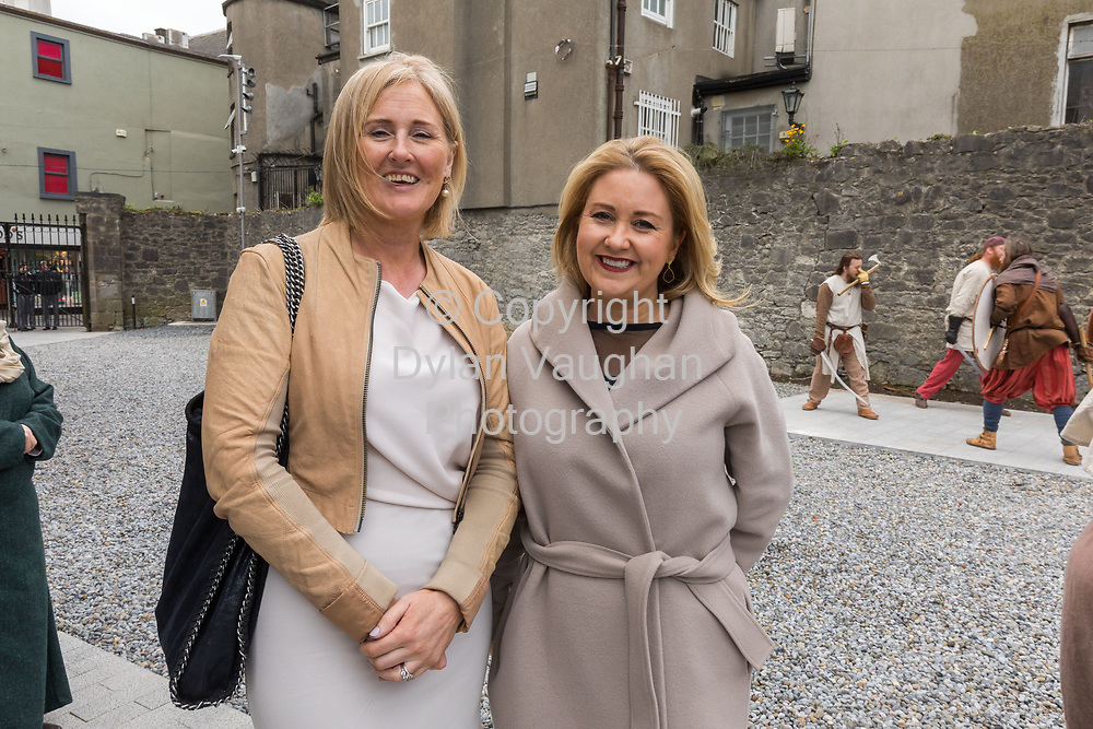 Repro Free no charge for use<br /> <br /> 4-4-17<br /> <br /> Official opening of Kilkenny&rsquo;s Medieval Mile Museum<br />  <br /> Today, Tuesday April 4th  at 12.15pm, Patrick O Donovan, Minister for Tourism and Sport officially opened Kilkenny&rsquo;s Medieval Mile Museum by cutting a ribbon at the door of the former St Mary&rsquo;s Church (St Mary&rsquo;s Lane, Kilkenny). The Medieval Mile Museum, commissioned by Kilkenny County Council, represents an investment of &euro;6.5 million, with significant assistance from Failte Ireland&rsquo;s Capital Programme and additional funding from Kilkenny Civic Trust. <br /> <br /> Pictured at the opening is Fiona Deegan Head of Enterprise, Enterprise Office and Karen Hennessy Chief Executive Design and Crafts Council of Ireland.<br />  <br /> <br /> Picture Dylan Vaughan.