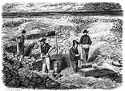 Miners washing for gold using cradles and pans: Californian gold fields. Wood engraving published Paris, 1849, the yeasr of the great Californian Gold Rush.