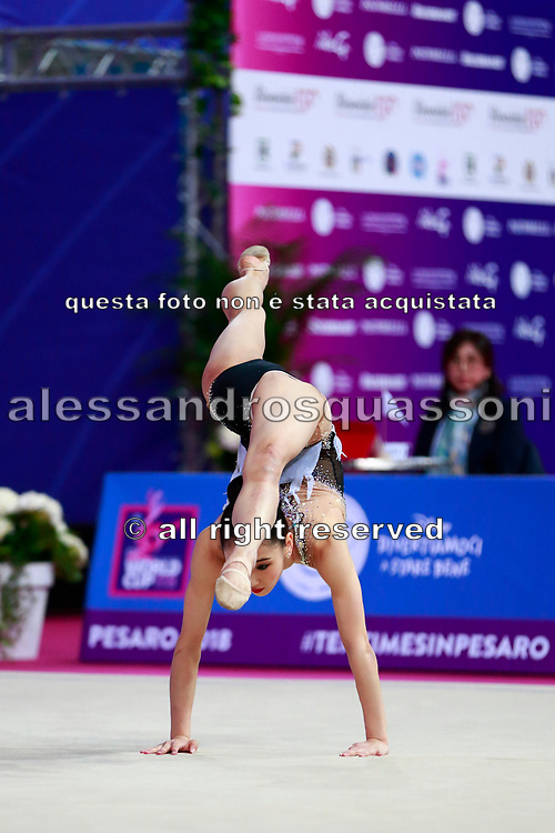 Seo Goeun during the qualification of the hoop at the Pesaro World Cup 2018. Goeun is a gymnast from the Republic of Korea born in Seoul in 2001.
