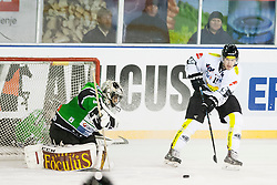 24.12.2014, Republic Square, Ljubljana, SLO, EBEL, HDD Telemach Olimpija Ljubljana vs EC Dornbirn, 30. Runde, in picture Andy Chiodo (HDD Telemach Olimpija, #40) and Chris D'Alvise (EC Dornbirn, #15) during the Erste Bank Icehockey League 30. Round between HDD Telemach Olimpija Ljubljana and EC Dornbirn on Republic Square, Ljubljana, Slovenia on 2014/12/16. Photo by Urban Urbanc / Sportida