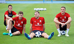 LOS ANGELES, USA - Saturday, May 26, 2018: Wales' Connor Roberts, Ben Davies, Sam Vokes and Andy King during a training session at the UCLA Drake Track and Field Stadium ahead of the International friendly match against Mexico. (Pic by David Rawcliffe/Propaganda)
