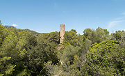 Torre de la Fullola, or Tower of Fullola, an early 13th century castle tower, 16m high, near Tortosa in Tarragona, Catalonia, Spain. There are remains of a medieval village and Gothic church around the tower. Picture by Manuel Cohen