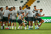 Liverpool defender Trent Alexander-Arnold (66) races Liverpool midfielder Naby Keita (8) during the Liverpool Training session ahead of the 2019 UEFA Super Cup Final between Liverpool FC and Chelsea FC at BJK Vodafone Park, Istanbul, Turkey on 13 August 2019.