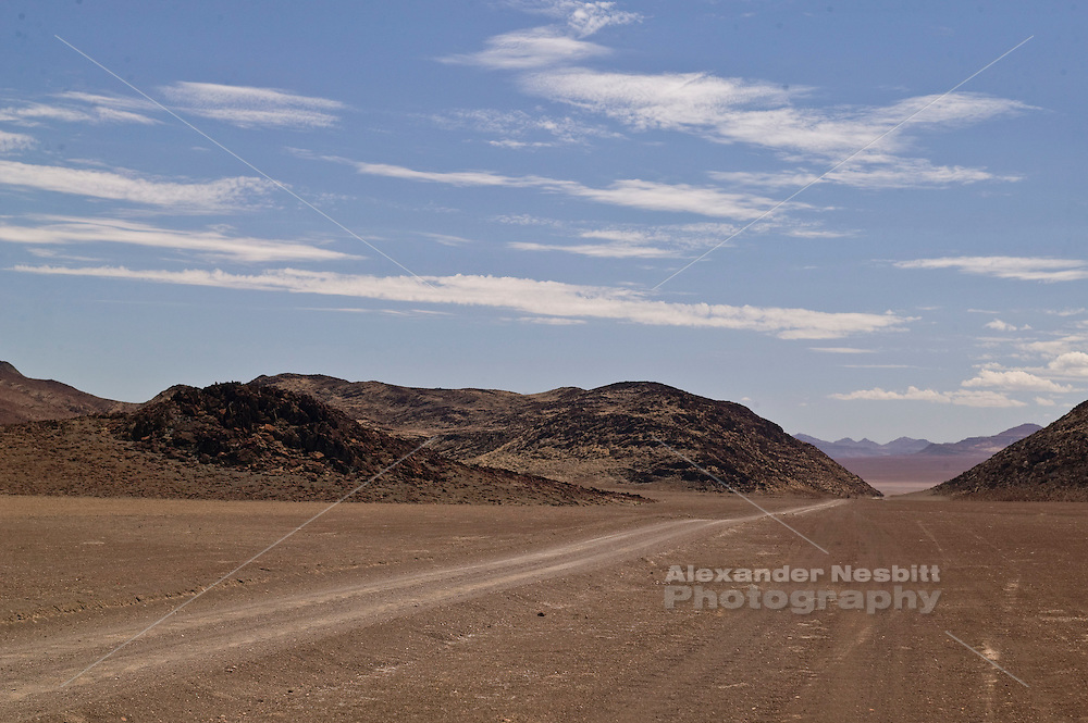Africa, Namibia - Empty dry landscape headed toward Orupembe, in Kunene deep in the back country near the skeleton coast.