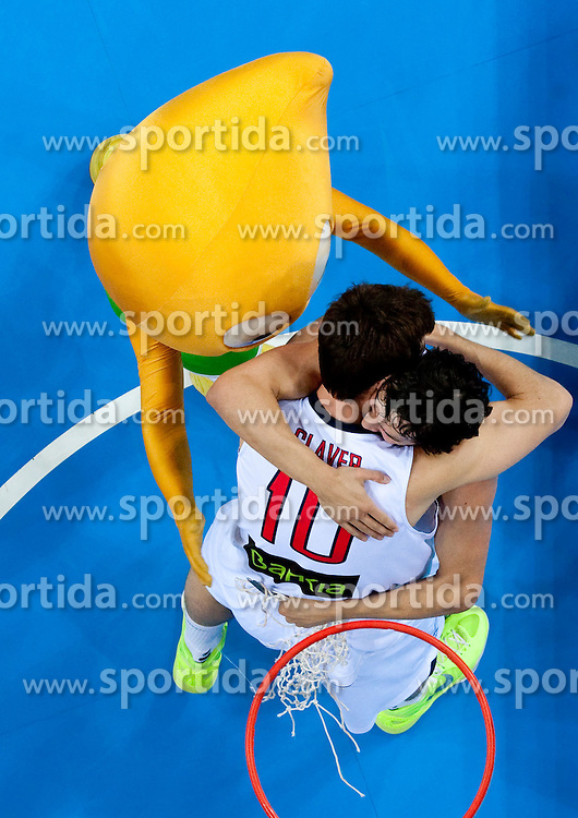 Victor Claver of Spain and Sergio Llull of Spain celebrate after the final basketball game between National basketball teams of Spain and France at FIBA Europe Eurobasket Lithuania 2011, on September 18, 2011, in Arena Zalgirio, Kaunas, Lithuania. Spain defeated France 98-85 and became European Champion 2011, France placed second and Russia third. (Photo by Vid Ponikvar / Sportida)
