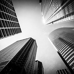 Chicago black and white architecture downtown city buildings upward view looking up toward the sky