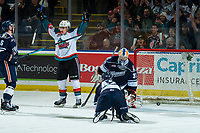 KELOWNA, CANADA - FEBRUARY 2: Leif Mattson #28 of the Kelowna Rockets throws his hands in the air to celebrate the OT winning goal on Dylan Ferguson #31 of the Kamloops Blazers  on February 2, 2019 at Prospera Place in Kelowna, British Columbia, Canada.  (Photo by Marissa Baecker/Shoot the Breeze)