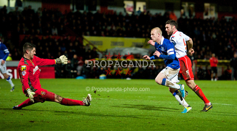 STEVENAGE, ENGLAND - Saturday, January 25, 2014: Everton's Steven Naismith scores the second goal against Stevenage during the FA Cup 4th Round match at Broadhall Way. (Pic by Tom Hevezi/Propaganda)