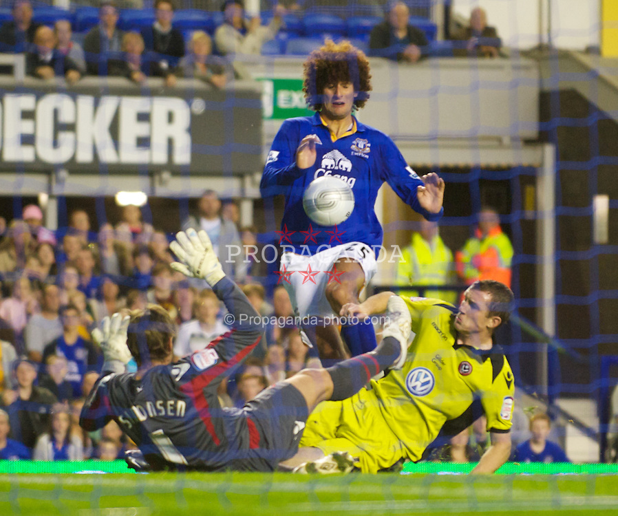 LIVERPOOL, ENGLAND - Wednesday, August 24, 2011: Everton's Marouane Fellaini has a shot saved against Sheffield United during the Football League Cup 2nd Round match at Goodison Park. (Pic by Dave Kendall/Propaganda)
