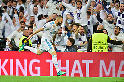 May 2, 2018 - Madrid, Spain - MADRID, SPAIN. May 1, 2018 - Karim Benzema celebrates after scoring a goal. With a 2-2 draw against Bayern Munchen, Real Madrid made it to the UEFA Champions League Final for third time in a row. Kimmich and James scored for the german squad while Karim Benzema did it twice for los blancos. Goalkeeper Keylor Navas had a great night with several decisive interventions. (Credit Image: © VW Pics via ZUMA Wire)