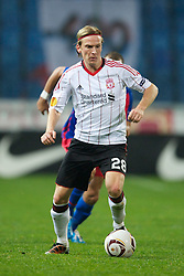 BUCHAREST, ROMANIA - Thursday, December 2, 2010: Liverpool's Christian Poulsen in action against FC Steaua Bucuresti during the UEFA Europa League Group K match at the Stadionul Steaua. (Pic by: David Rawcliffe/Propaganda)