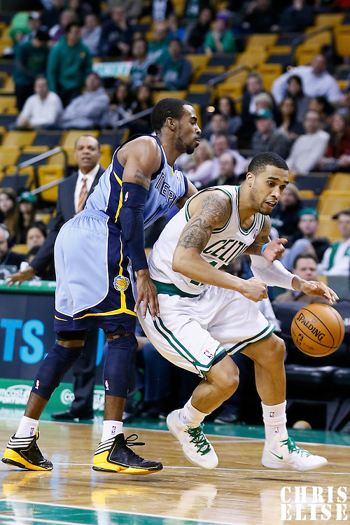 02 January 2013: Memphis Grizzlies point guard Mike Conley (11) steals the ball from Boston Celtics shooting guard Courtney Lee (11) during the Memphis Grizzlies 93-83 victory over the Boston Celtics at the TD Garden, Boston, Massachusetts, USA.