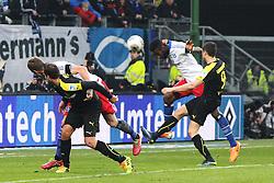 Football: Germany, 1. Bundesliga, Hamburg, 16.02.2014<br />Johan Djourou (Hamburger SV) play of the goal<br /> copyright: pixathlon