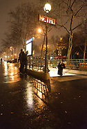 France. Paris 7th. subway entrance on avenue des Invalides at night