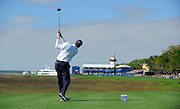 Matt Kuchar hits off the tee on the 18th hole during the final round of the RBC Heritage golf tournament in Hilton Head Island, S.C., Sunday, April 20, 2014. Kuchar won the tournament with 11-under par. (AP Photo/Stephen B. Morton)