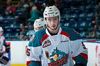 KELOWNA, CANADA - APRIL 14: Konrad Belcourt #5 of the Kelowna Rockets warms up against the Portland Winterhawks on April 14, 2017 at Prospera Place in Kelowna, British Columbia, Canada.  (Photo by Marissa Baecker/Shoot the Breeze)  *** Local Caption ***