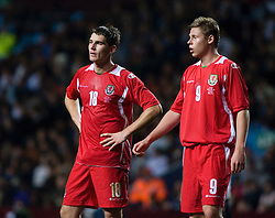 BIRMINGHAM, ENGLAND - Tuesday, October 14, 2008: Wales' Sam Vokes and Simon Church dejected against England during the UEFA European Under-21 Championship Play-Off 2nd Leg match at Villa Park. (Photo by Chris Ratcliffe/Propaganda)