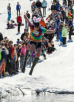 Snow Bunny Logan Aldrich was in prime form for his attempt to cross the pond during Gunstock's annual end of the season BYODC event Sunday afternoon.  (Karen Bobotas/for the Laconia Daily Sun)