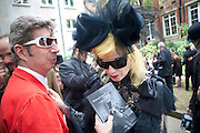 DUGGIE FIELDS; PAM HOGG, Sebastian Horsley funeral. St. James's church. St. James. London afterwards in the church garden. July 1 2010. -DO NOT ARCHIVE-© Copyright Photograph by Dafydd Jones. 248 Clapham Rd. London SW9 0PZ. Tel 0207 820 0771. www.dafjones.com.