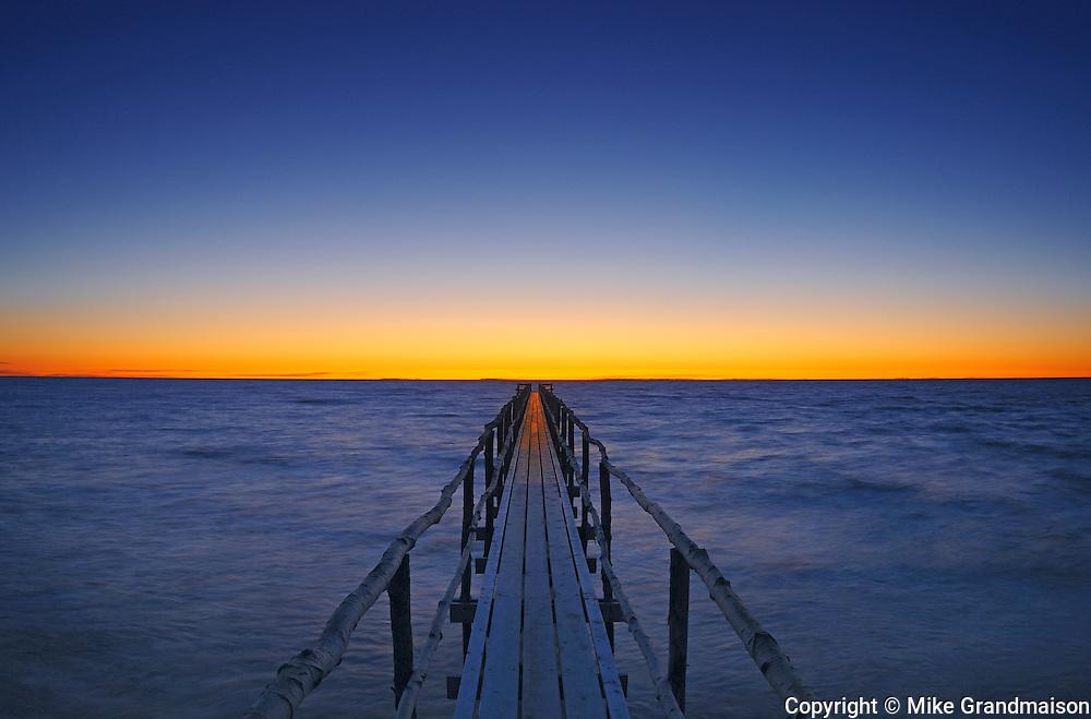 Pier on Lake Winnipeg at dawn<br />MAtlock<br />Manitoba<br />Canada