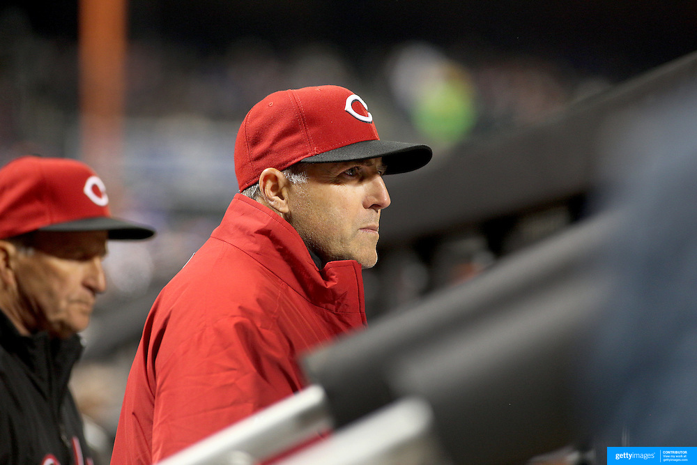 NEW YORK, NEW YORK - APRIL 26:  Bryan Price, Manager of the Cincinnati Reds, in the dugout during the New York Mets Vs Cincinnati Reds MLB regular season game at Citi Field on April 26, 2016 in New York City. (Photo by Tim Clayton/Corbis via Getty Images)