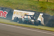Mariano Martinez(MEX) Fortec Motorsport hits the wall after a collision with Mariano Martinez(MEX) Fortec Motorsport heading up the hill on the start / finish straight during the FIA Formula 4 British Championship at Knockhill Racing Circuit, Dunfermline, Scotland on 15 September 2019.