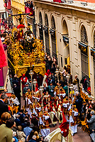A paso (float) of the crucifixion of Jesus Christ in the procession of the Brotherhood (Hermandad) La Lanzada, Holy Week (Semana Santa), Seville, Andalusia, Spain.