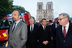 Emmanuel Macron walks near the Notre Dame Cathedral - Paris - 15 April 2019