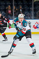 KELOWNA, CANADA - FEBRUARY 8:  Nolan Foote #29 of the Kelowna Rockets skates against the Prince George Cougars on February 8, 2019 at Prospera Place in Kelowna, British Columbia, Canada.  (Photo by Marissa Baecker/Shoot the Breeze)