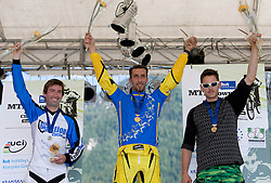 Medal ceremony of Masters 30-34 category: second placed Michael Cowan (IRL), winner Polo Alleva (ITA) and  third placed Dusan Leposa (SLO) at MTB Downhill European Championships, on June 13, 2009, at Kranjska Gora, Slovenia. (Photo by Vid Ponikvar / Sportida)