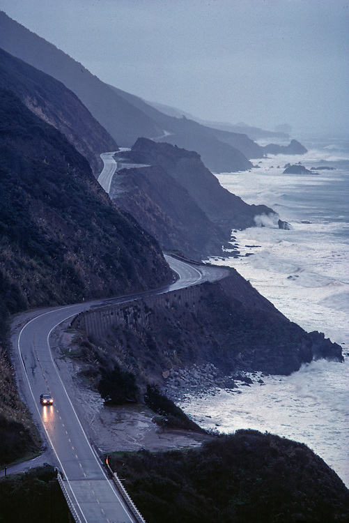 California, Route 1, Big Sur, Aerial, Sunset, Pacific Ocean, Big Sur is located 26 miles south of Carmel on the Central California Coast. Surrounded<br /> by Ventana Wilderness Area and the Los Padres National Forest
